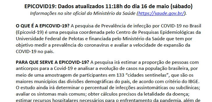 Epicovid19 divulga primeiro relatório parcial do trabalho de campo, com perguntas e respostas